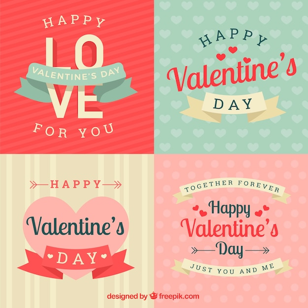 Vintage ValentineS Day LabelBadge Collection Vector  Free Download