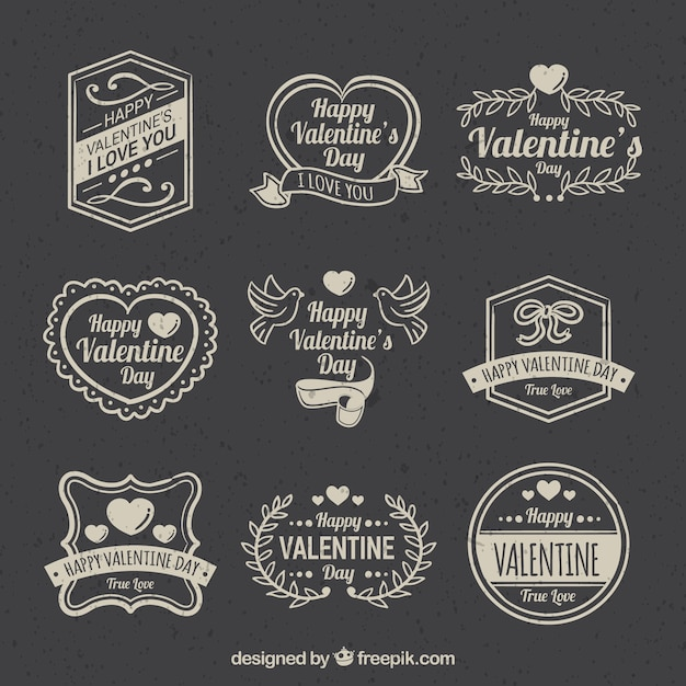 Vintage valentine's day label/badge collection Free Vector