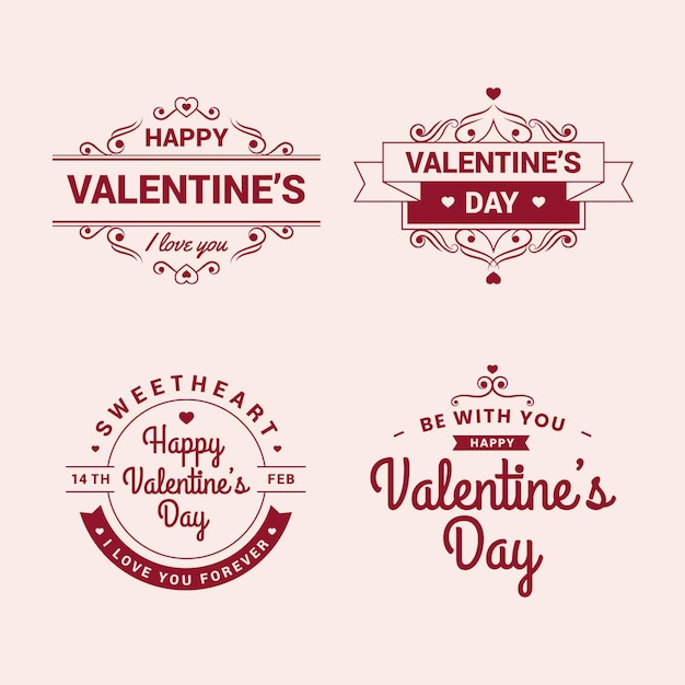 Vintage valentine's day label collection Free Vector