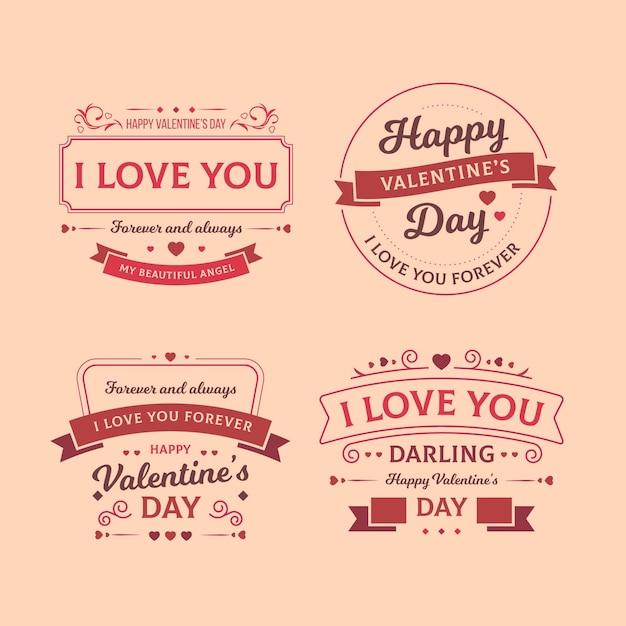Set di etichette vintage di san valentino Vettore gratuito