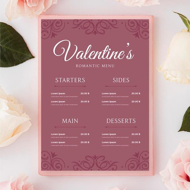 Винтажное меню на день святого валентина Бесплатные векторы