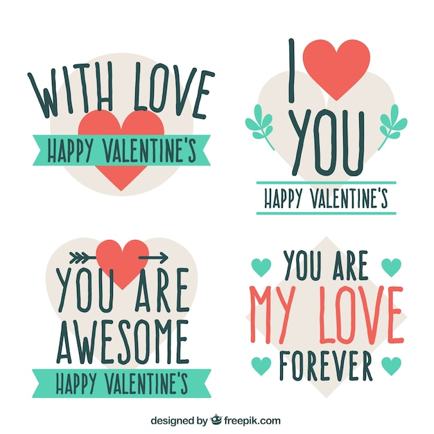 Vintage Valentine Stickers With Messages Free Vector