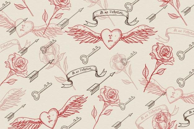 Vintage valentines day background Free Vector