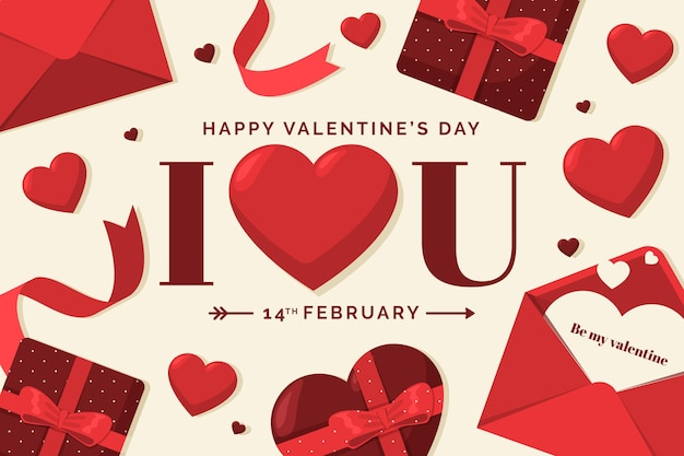 Vintage valentines day background Free Vector