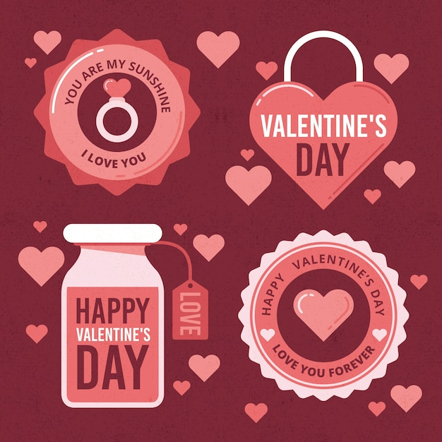 Vintage valentines day badge collection Free Vector