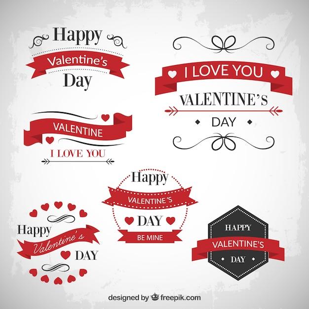 Vintage valentines day badges Free Vector