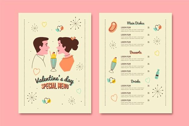 Vintage valentines day menu template Free Vector