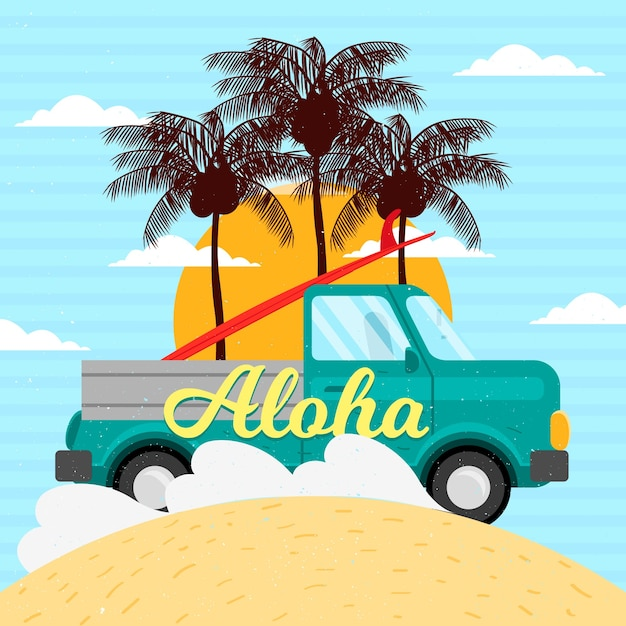 Vintage Van Wallpaper With Palm Trees Free Vector