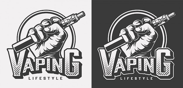 Vintage vaping monochrome labels Free Vector