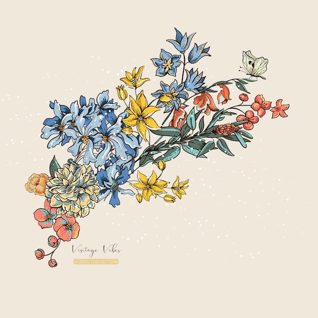 Vintage vector floral greetin card. decoration of a wedding invitation, natural illustration Premium Vector