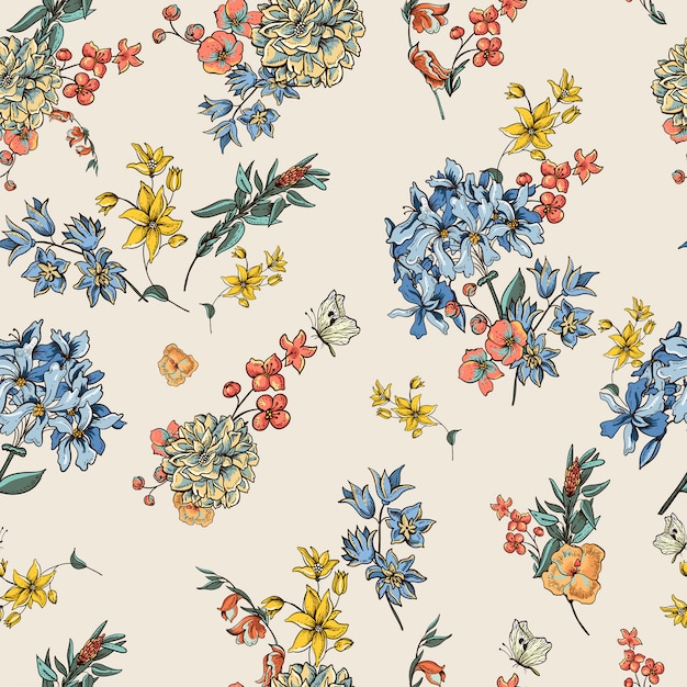 Vintage vector floral pattern Premium Vector