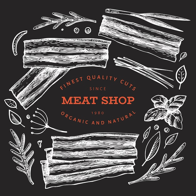 Vintage vector meat illustration on chalk board. Premium Vector