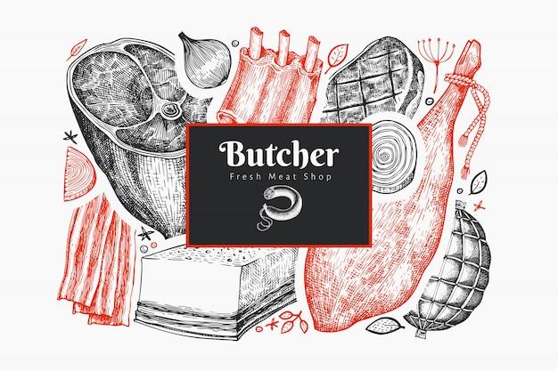 Винтаж векторный шаблон оформления мясных продуктов. ручной обращается ветчина, сосиски, хамон, специи и травы. ретро иллюстрация. можно использовать для меню ресторана. Premium векторы