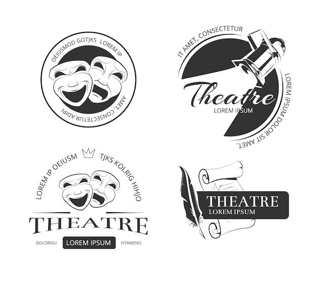 Vintage vector theatre labels emblems badges and logo Premium Vector