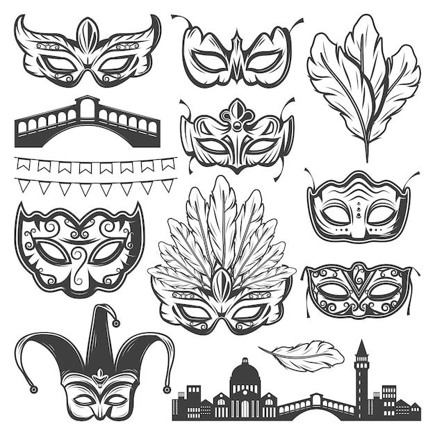 Винтажные элементы венецианский карнавал с венецианский городской пейзаж различных масок перьев и гирлянды изолированы Бесплатные векторы