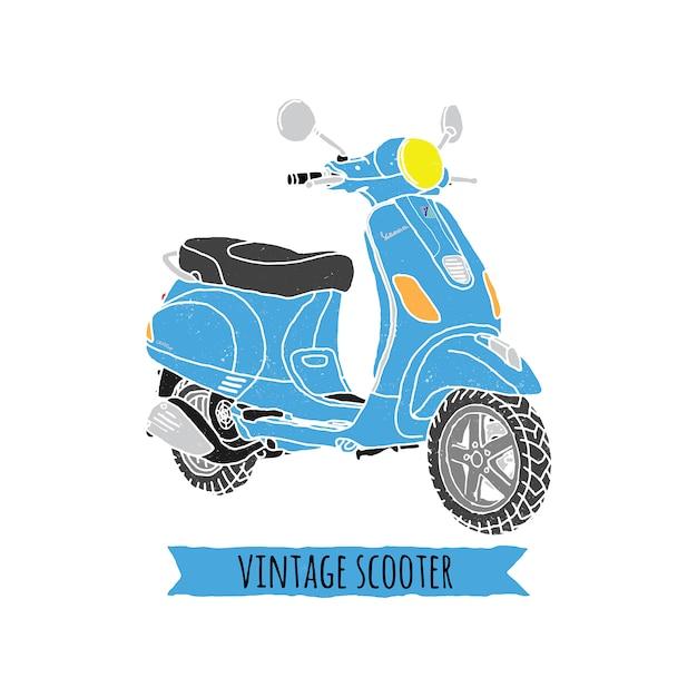 Vintage vespa ride classic Premium Vector