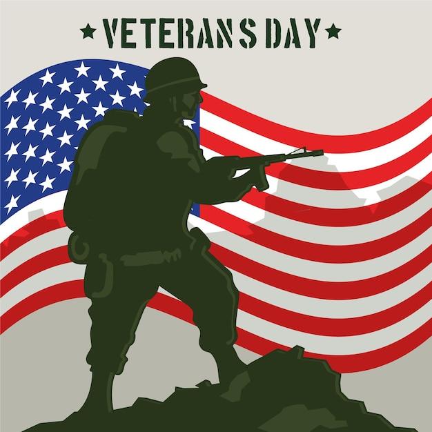 Design vintage del giorno dei veterani Vettore gratuito
