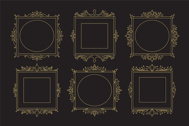 Vintage victorian frame collection Free Vector