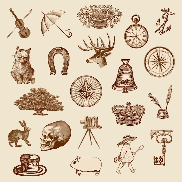 Vintage victorian objects collection Free Vector
