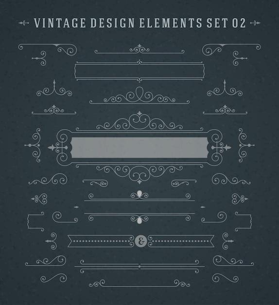 Vintage vignettes swirls ornaments set Premium Vector