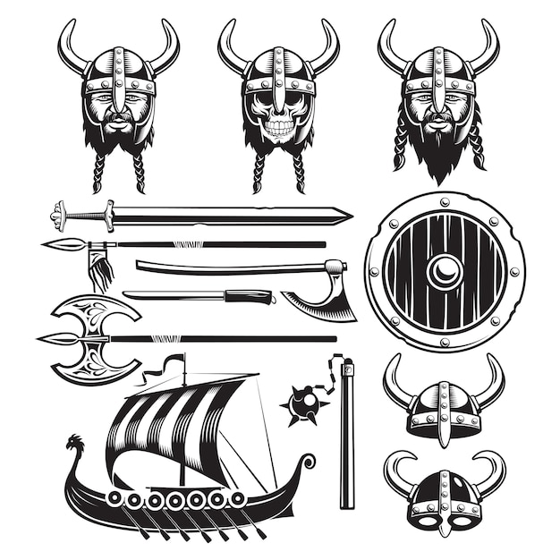 Set di elementi vintage vichinghi Vettore gratuito