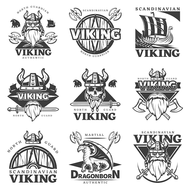 Set di etichette vintage vichinghe Vettore gratuito