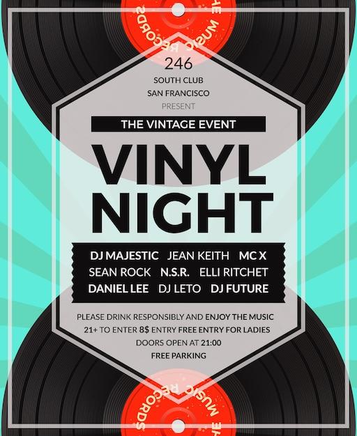 빈티지 비닐 lp dj 파티 포스터. 디스코 및 사운드, 음악 오디오 파티 무료 벡터