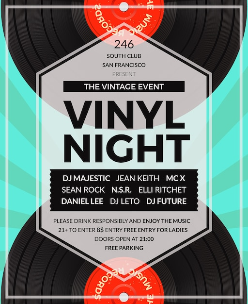 Vintage vinyl lp dj party poster. disco and sound, musical audio party Free Vector