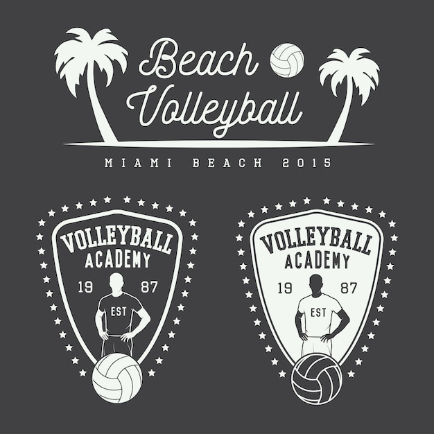 Vintage volleyball emblems and logo. Premium Vector