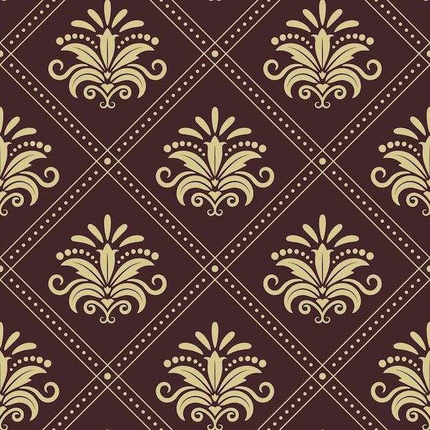 Vintage wallpaper seamless. background design in retro style. Free Vector