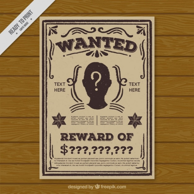 Vintage Wanted Criminal Poster Template Vector | Free Download