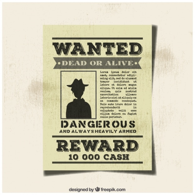 Vintage wanted criminal poster Vector – Wanted Criminal Poster