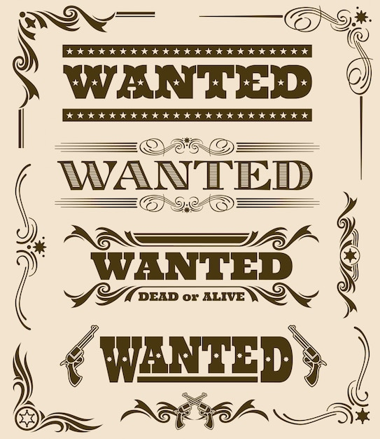 Vintage wanted dead or alive western poster frame ornament elements. Premium Vector