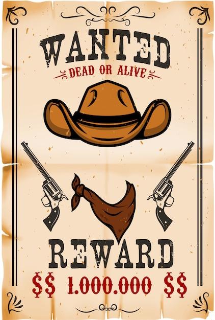 Винтаж хотел плакат шаблон с старой бумаги текстуры фона. тема дикого запада. иллюстрация Premium векторы