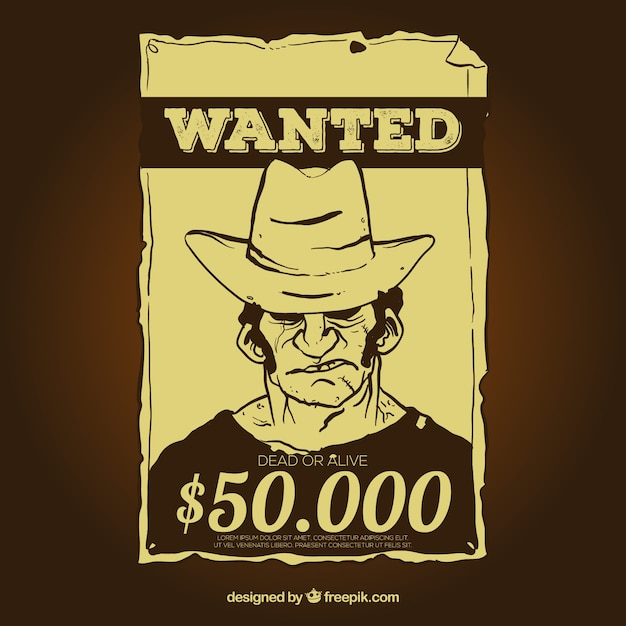 Vintage Wanted Poster Template With Reward Vector  Free Download