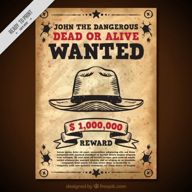 Vintage wanted poster with hat and red details Free Vector