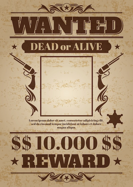 Vintage wanted western poster with blank space for criminal photo. vector mockup Premium Vector