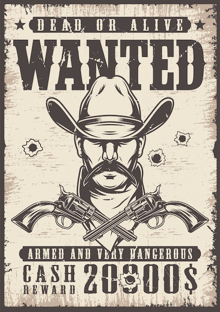 Vintage wanted wild west poster Free Vector