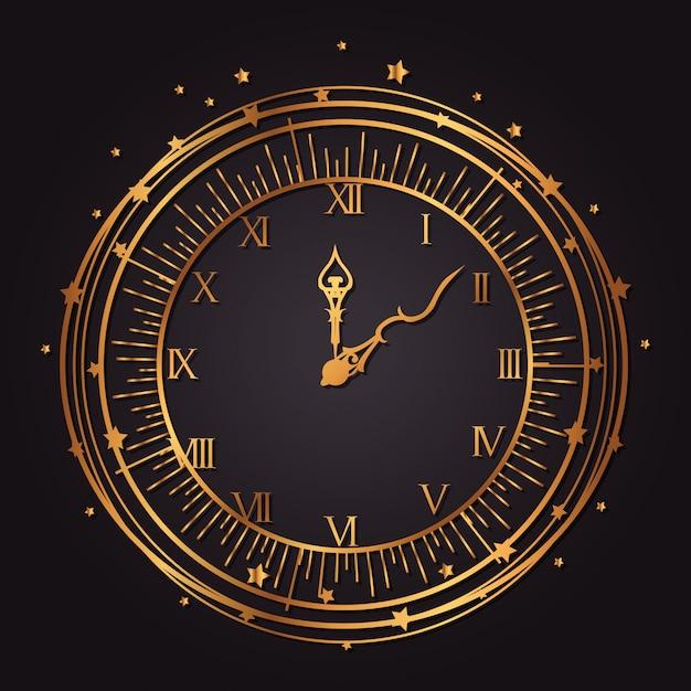 Vintage watch golden icon Free Vector