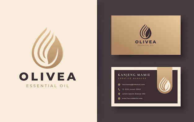 Vintage water drop / olive oil logo and business card design Premium Vector