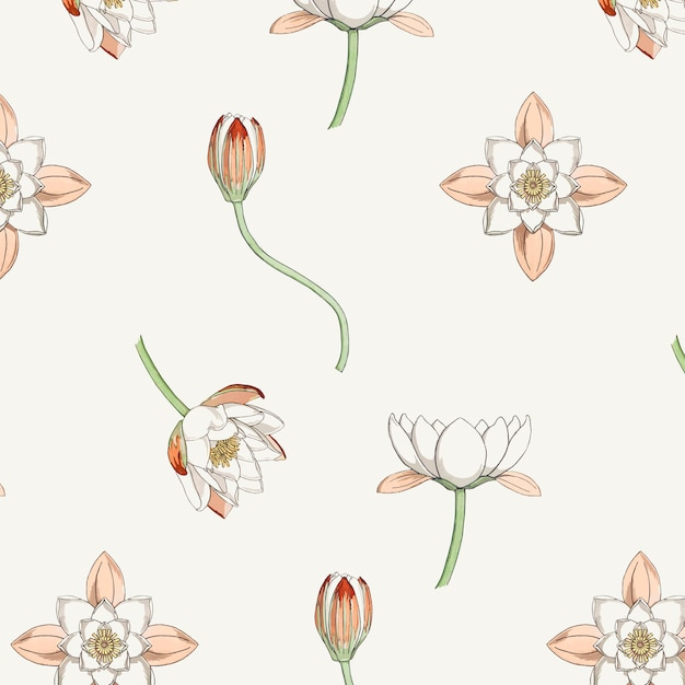Vintage water lily flower pattern Free Vector