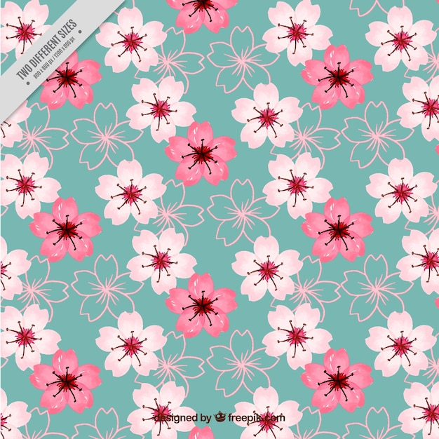 Vintage Watercolor Cherry Blossoms Background Vector Free Download