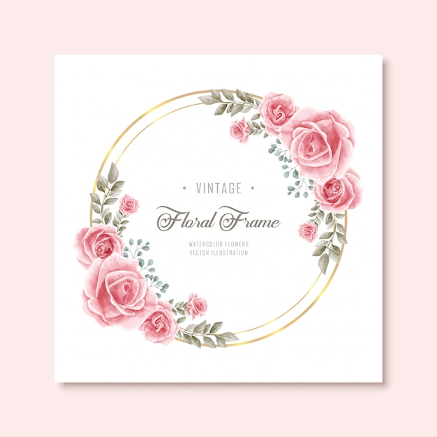Vintage watercolor floral flowers frame with golden circle Premium Vector