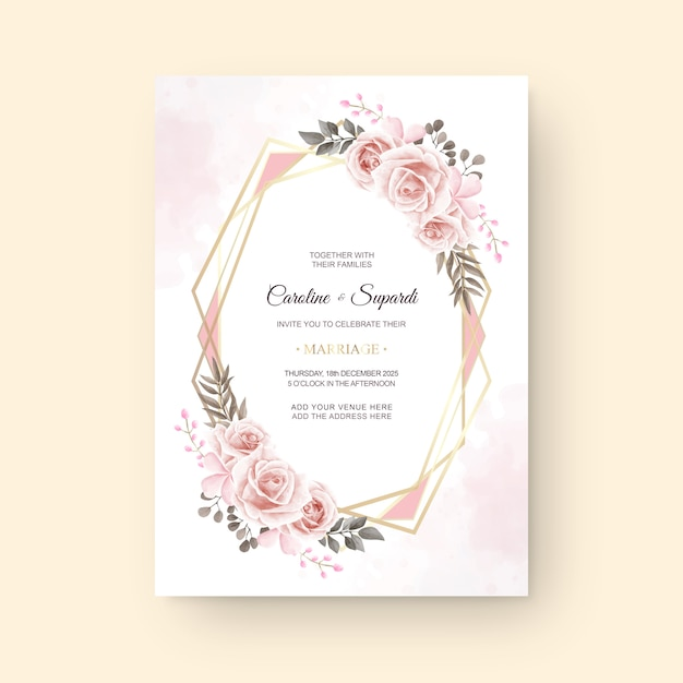 Vintage watercolor flower wedding invitation card Premium Vector