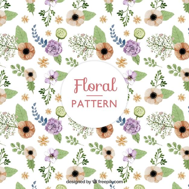 Vintage watercolor flowers pattern Free Vector