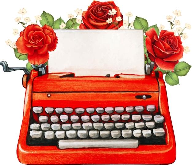 ヴィンテージ水彩赤タイプライターとバラ Premiumベクター
