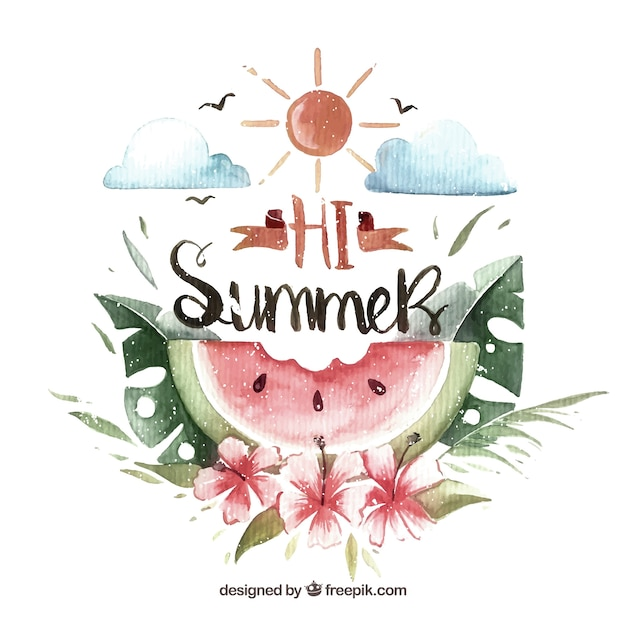Vintage watercolor watermelon summer background\ with floral decoration