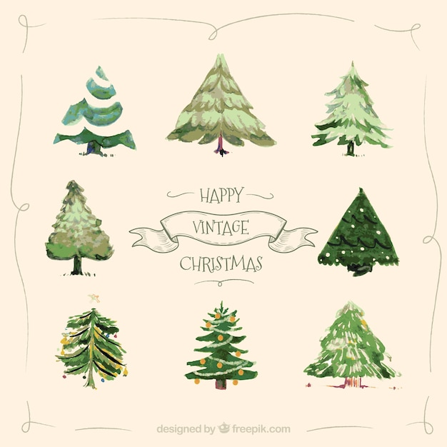 Vintage watercolour collection of christmas trees Free Vector