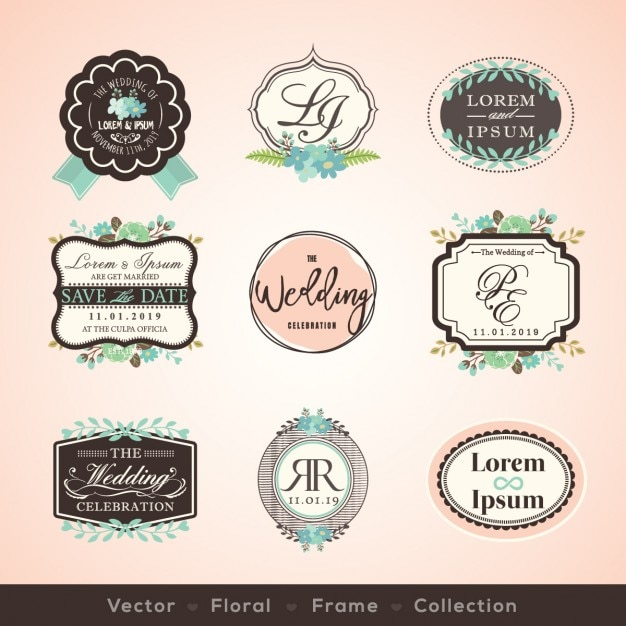Vintage wedding badges Free Vector