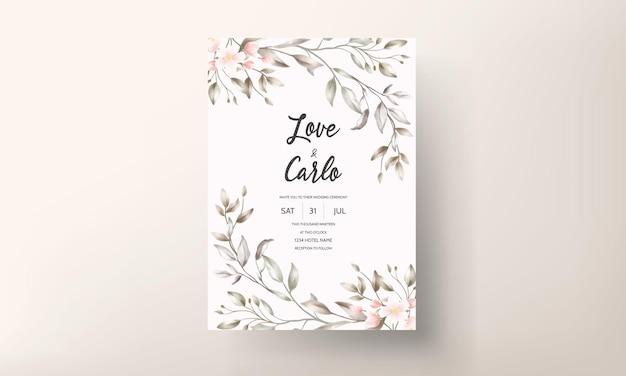 Disegno floreale della carta di nozze dell'annata Vettore gratuito